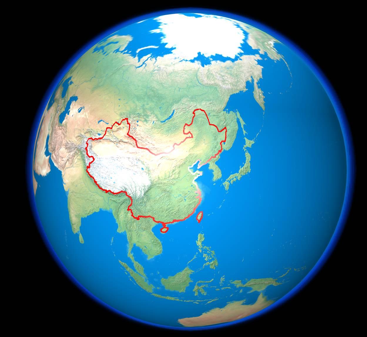 然后把地图作为贴图叠加在地球上,调剂位置